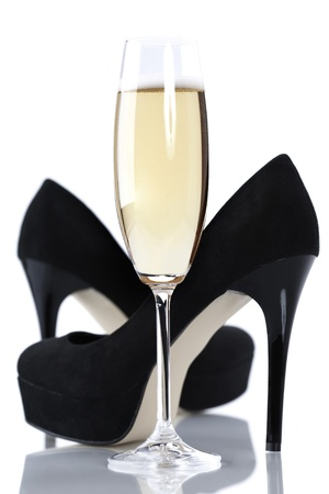 anniversary sexy: sexy high heels and champange or sparkling wine glass