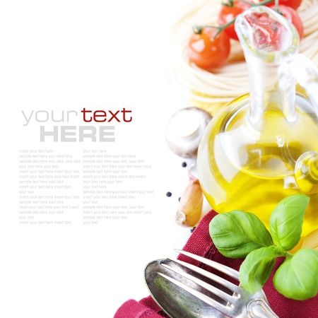 italy food: Spoon, fork, napkin and pasta ingredients (Pasta, olive oil, basil, mushrooms, tomato, garlic) with sample text