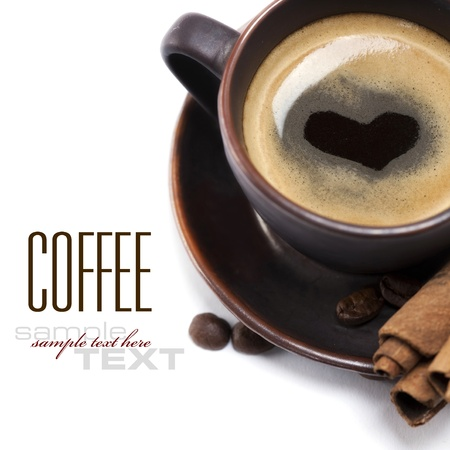 faience: Cup Of Coffee With Heart Image On White Background (with sample text)