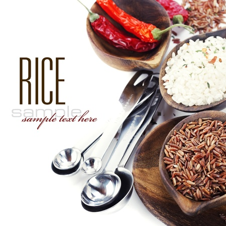 food staple: Bowls of uncooked rice over white with sample text