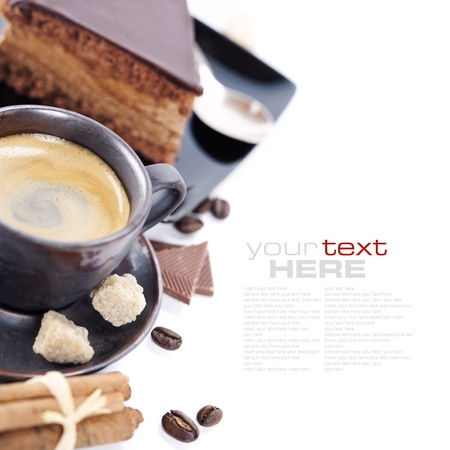 removable: Close-up of cup of coffee and chocolate cake (easy removable text) Stock Photo