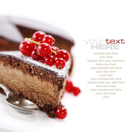 piece of cake: slice of delicious chocolate cake over white (easy removable sample text)