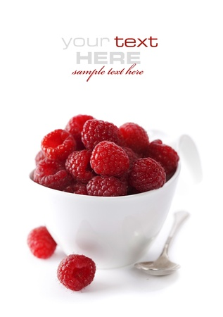 fresh raspberries on a bowl (easy removable text) photo