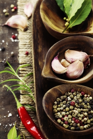 wooden bowls with fresh herbs and spices ( garlic, pepper, bay leaves, salt) Stock Photo - 8785162