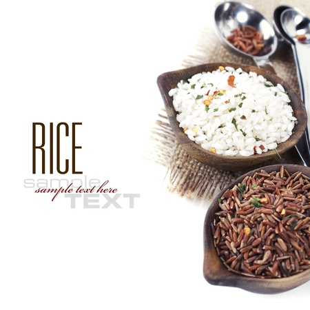 organic background: Bowls of uncooked rice over white with sample text