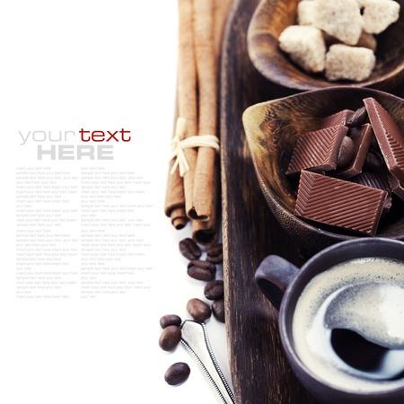 Coffee, chocolate, brown sugar and cinnamon (with sample text) photo
