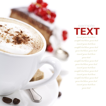 cappuccino: Close-up of white cup of coffee and chocolate cake (easy removable text)