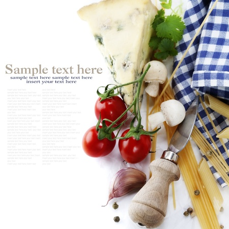 foodie: Composition of pasta, vegetables and cheese over white with sample text Stock Photo