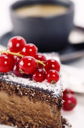 Close-up of cup of coffee and chocolate cake Stock Photo - 9097275
