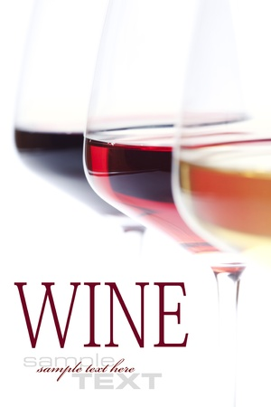 wine and food: Three glass of wine (white, red and rose) over white (with sample text)