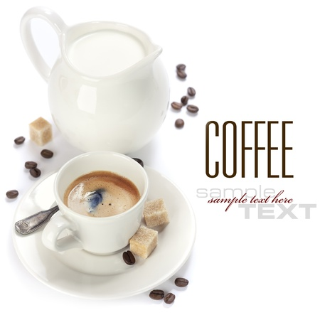 freshly prepared: Closeup shot of freshly prepared cup of italian espresso and milk over white (with sample text) Stock Photo