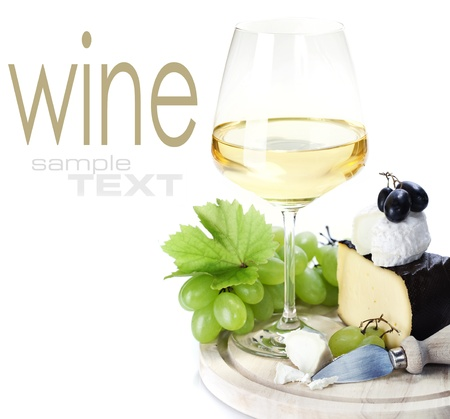 parmesan cheese: white wine and cheese over white  (with sample text)
