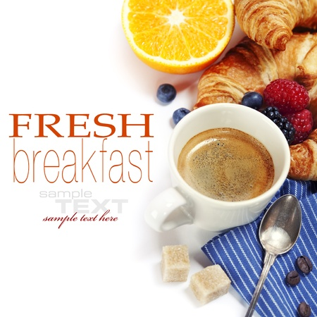 continental breakfast: Delicious breakfast with fresh coffee, fresh croissants and fruits   (with sample text)  Stock Photo