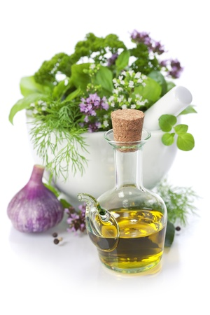 Healing herbs over white with copyspace Stock Photo - 10122115
