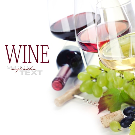 Glasses of white, red and rose wine and grapes over white (with sample text)