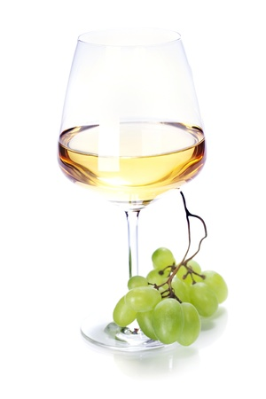 wineglass with white wine and grape over white Stock Photo - 10281420