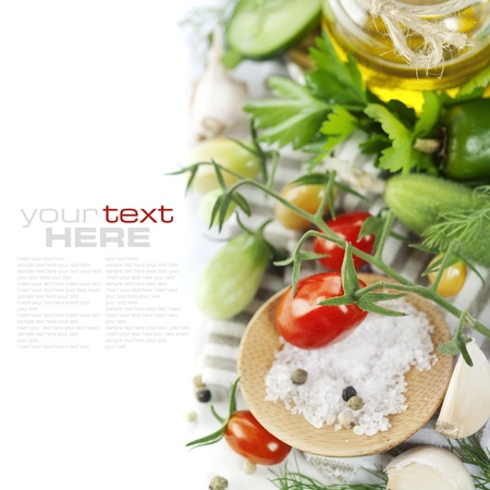vibrant colors: Fresh ingredients (tomatoe, garlic, pepper, cucumbers, dill, salt, parsley, olive oil) (with sample text)  Stock Photo