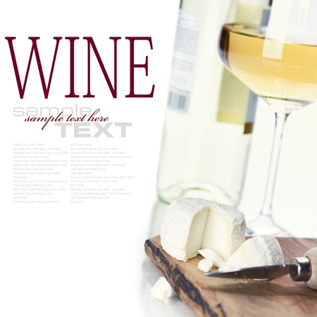 white wine and cheese over white (with sample text) photo