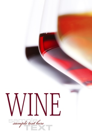 burgundy drink glass: Three glass of wine  over white (with sample text)