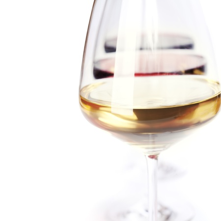 rose wine: Three glass of wine (white, red and rose) over white
