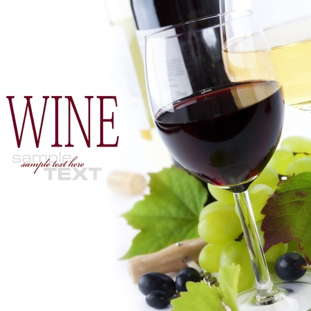 wine growing:  glasses of wine and  grape over white (with sample text) Stock Photo