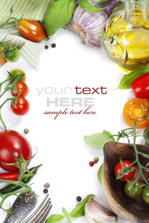 fruit and vegetables: Several varieties of tomatoes and spices over white (with sample text) Stock Photo