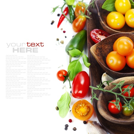 cherry varieties: Several varieties of tomatoes and spices over white (with sample text) Stock Photo