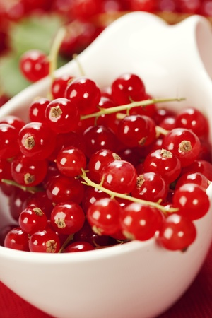 red currant: ripe red currant berries close up shot Stock Photo