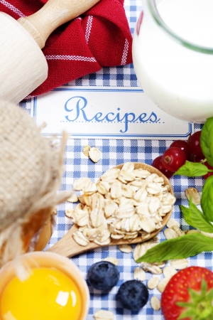 The book of recipes and fresh ingredients for cooking Stock Photo - 10761526