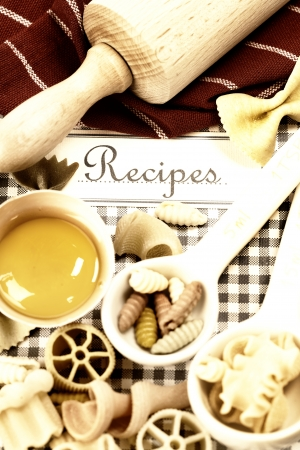 The book of recipes and italian pasta photo