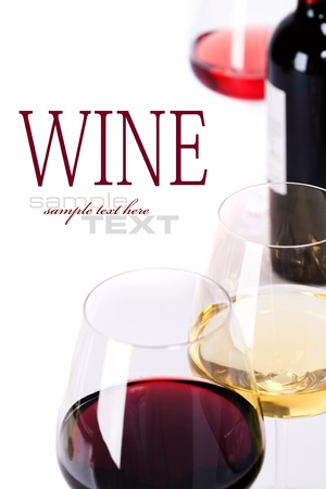 Glasses of white, red and rose wine  over white (with sample text)