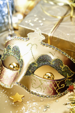 Carnival mask and Christmas decorations photo