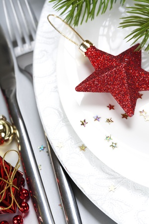 buffet table: close up of a festive place setting