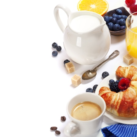 milk fresh: Delicious breakfast with fresh coffee, milk,  fresh croissants and fruits