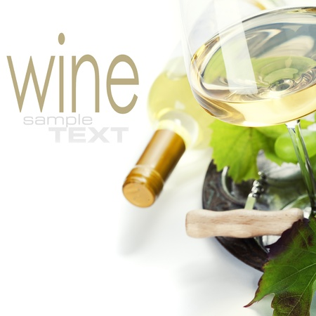 glass of wine and  grape over white (with sample text) photo