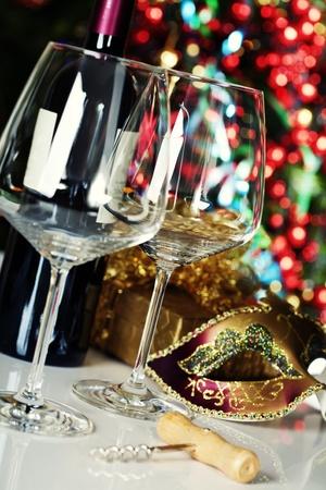 Wine glasses on Christmas tree background Stock Photo - 11600819