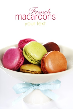 Colorful macaroons in a plate over white photo