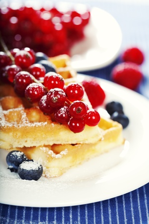 breakfast : waffles with fresh berries photo
