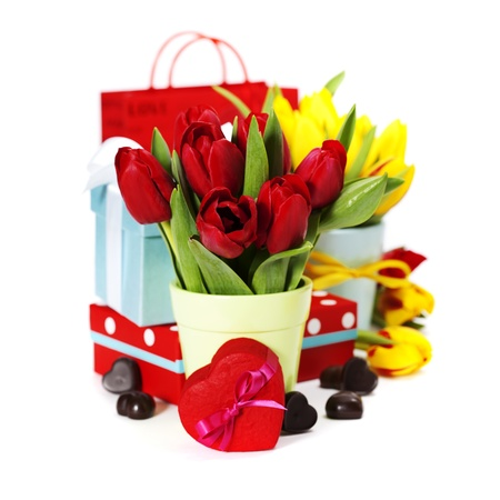 gift boxes, chocolate  and flowers for Valentines day ( on white background). photo