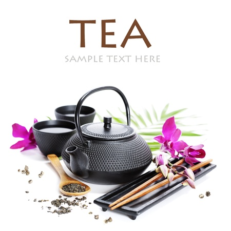 Asian food concept (Green tea, orchid and chopsticks) with sample text Stock Photo