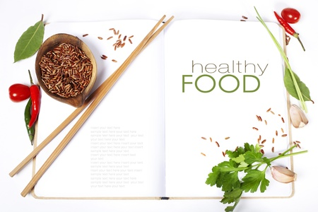 sample text: asian ingredients on opened notebook (with easy removable sample text)   Stock Photo