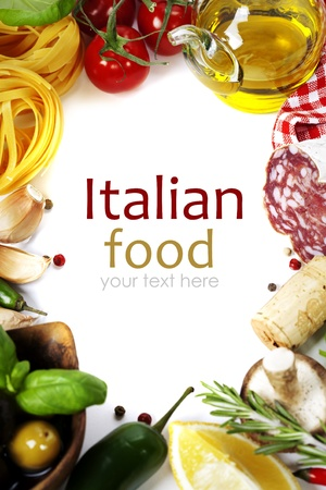 italian salami: Italian food. Ingredients for cooking (tomatoe, garlic, pepper, mushroom, basil, olives, olive oil, salami) over white (with easy removable sample text)   Stock Photo