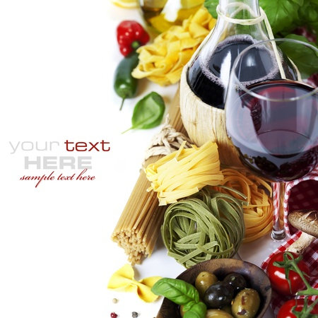 wine and food: Italian food and wine. Ingredients for cooking (pasta, tomatoe, garlic, pepper, mushroom, bay leaves, olives, olive oil, basil)  over white (with easy removable sample text)