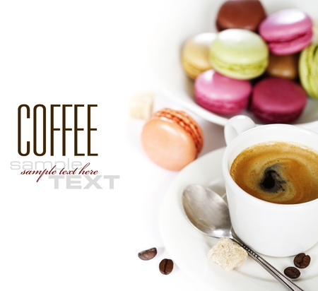 Espresso and fresh colorful macaroons (with sample text)