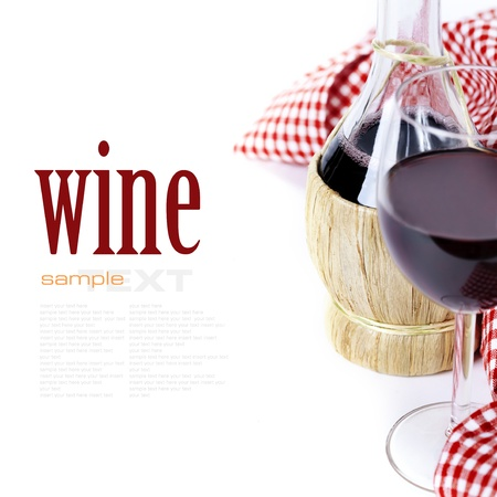 wine and dine: Red wine with napkin over white (with easy removable sample text)   Stock Photo