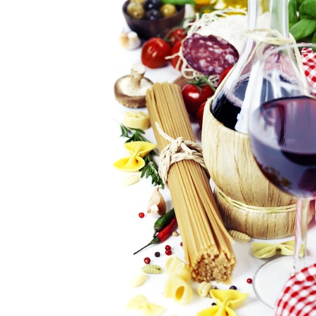 Italian food and wine. Ingredients for cooking (pasta, salami, tomatoe, garlic, pepper, mushroom, bay leaves, olives, olive oil, basil)  over white