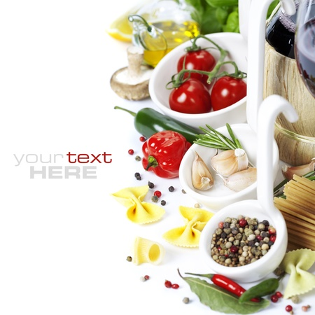 recipe: Italian food. Ingredients for cooking (tomatoe, garlic, pepper, mushroom, bay leaves, olives, olive oil) With wine over white (with easy removable sample text)   Stock Photo