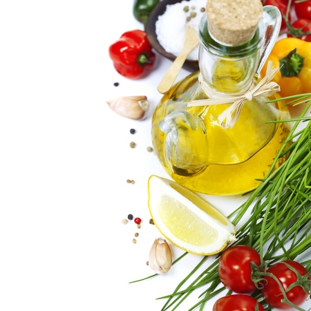 olive  oil: Olive oil, pepper, salt and  fresh vegetables, herbs and spices