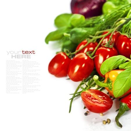 cebollin: Los tomates, las cebolletas, pimientos, hierbas, cebollas y pepinos de m�s de blanco