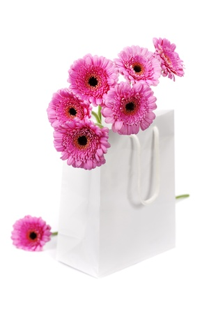 colorful pink daisy gerbera flowers in a shopping bag photo